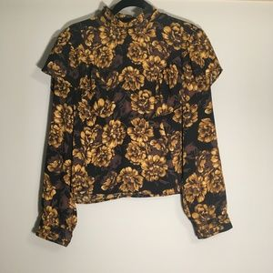 Leith Victorian Ruffle Floral Black&Yellow Blouse